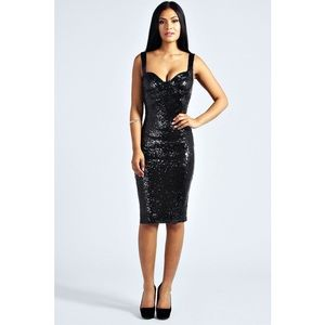 2286e3411be Boohoo Dresses - nwt black sequin fitted midi dress